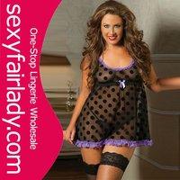 2015 New Design dot sexy Plus size lingerie mature lingerie