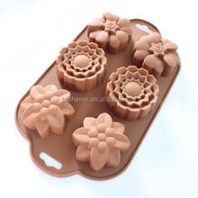 Novo 6 furos flor forma Muffin doce bolo de gelo de silicone chocolate soap mold silicone baking bolo mold bolo de aniversário decoração
