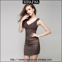 2015 New arrival sexy tight cotton girls one-piece dress