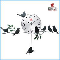 Metal Clock Wall Iron Bird Pendulum Clock Design Silent Sweep Art Clock
