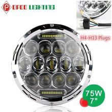H4 H13 Connector 7 inch led headlight,Black/Chrome 75wattJeep 7 inch led headlight