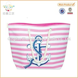 Water Resistant Anchor Beach Bag With Inside Lining & Top Handle