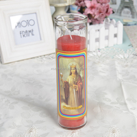 Classic SANTA BARBARA Glass Religious Candle In Different Sizes wholesales