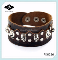 PK0226 Skull and Stud Pattern Cuff Wristband spanish leather bracelets