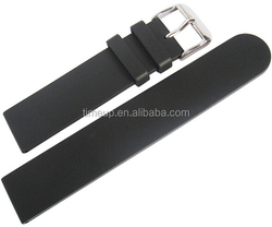 22mm Black Smooth Silicone watch strap