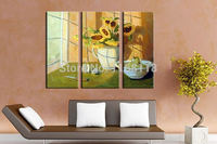 3 piece modern decor art set classic sunflowers in vase on balcony hand painted Oil Painting on Canvas
