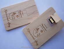 Wooden card usb flash drive Wooden flip usb card with free logo engraving
