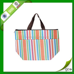green laminated picnic cooler bag