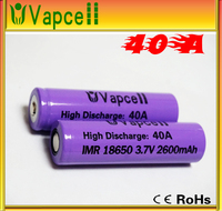 40a High drain VapCell 18650 40a 18650 2600mAh 3.7V 40a battery, 18650 40a,18650 rechargeable batteries for power tools/e-cigs