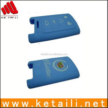 Blue silicone personalized key cover for car keys