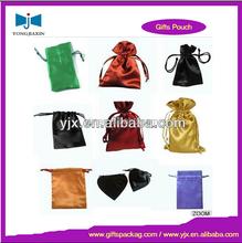 colored plain silk satin drawstring packing gifts wrap bag