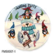 Decorative customized ceramic christmas round shape magnetic fridge stickers hot in 2012