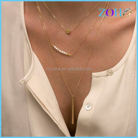 2015 key trend layering jewelry gold thin chain and boho metal bar pendant necklace pearl layering necklace