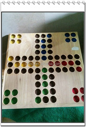 double-sided ludo with snake and ladder wooden board game