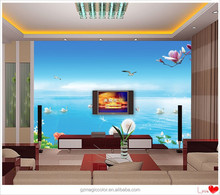 lake scenery picture decoration lounge room wall murals with plant design