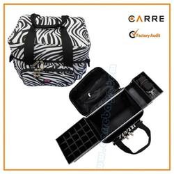 Soft Sided Zebra Design Nail Artist Makeup Bag nail polish carrying case