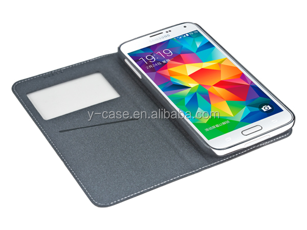Book style leather case for Samsung Galaxy S5 i9600 mobile phone case