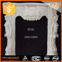 Made in China hand carved marble free standing glass fireplace