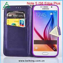 Purple Color Phone Bag Leather Case For Samsung S6 Edge Plus, Mobile Phone Wallet Covers Case For S6 Edge Plus Standing Case