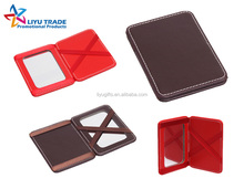 promotional custom printing patent leather wallet with mirror