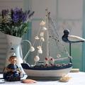 la moda clásica azul y blanco velero de artes y embarcaciones de estilo mediterráneo de madera artesanal de regalo