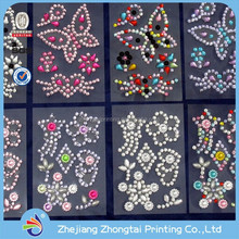 high quality man-made flowers & butterfly diamond sticker with customized design, colorful glitter decorative jewelry sticker