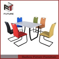 High quality wooden dining set latest modern metal cheap dining table and 6 chairs