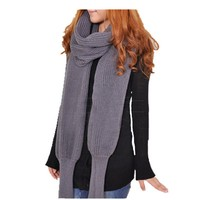 Wholesale unbranded new design unisex adult with sleeve novelty fashion shawl solid knitted scarf