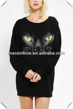 women long hip length crew neck sublimation printing sweatshirt