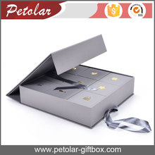 elegant grey decorative gift box with multiple compartments