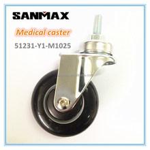 "Sanmax factory direct sale 3"" medical caster pu , swivel caster wheels, black pu caster"