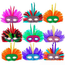 Top Quality Carnival Indian Feather Mask Colorful Half face headdress Mask for Holloween Party