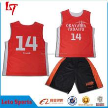 Reversible Basketball Kits custom sublimation basketball jersey/warm up layer base t shirts & shorts with 100% polyester