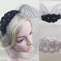 2015 New Arrival Fashion Veiling Headband Fascinator With Crystal