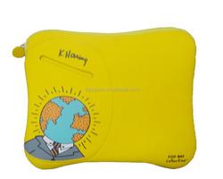 Yellow color neoprene zipper pocket laptop tablet sleeve case