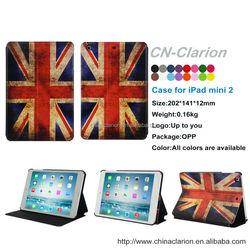 Hot sale case for iPad mini 1/2/3 case, PU Leather Smart Cover Case for iPad mini case, UK Flag