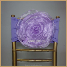 C116(1) 2015hot and cheap organza flower chair sash with spandex bands