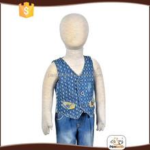 Top quality boys 100% cotton denim wholesale jean vest