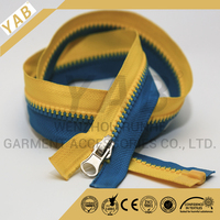 #5 plastic bag with zipper open end auto lock double color tape with puller,