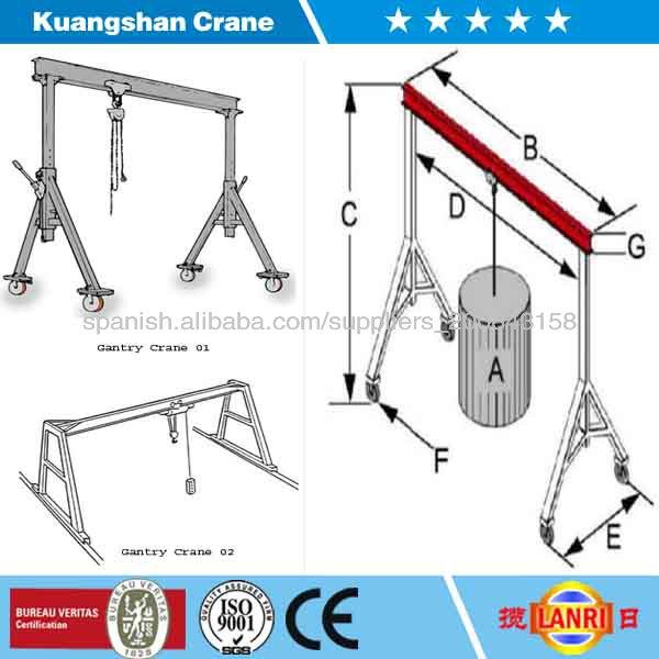 China gantry crane ajustable gr a p rtico m vil gr a for Avvolgere intorno al costo del portico