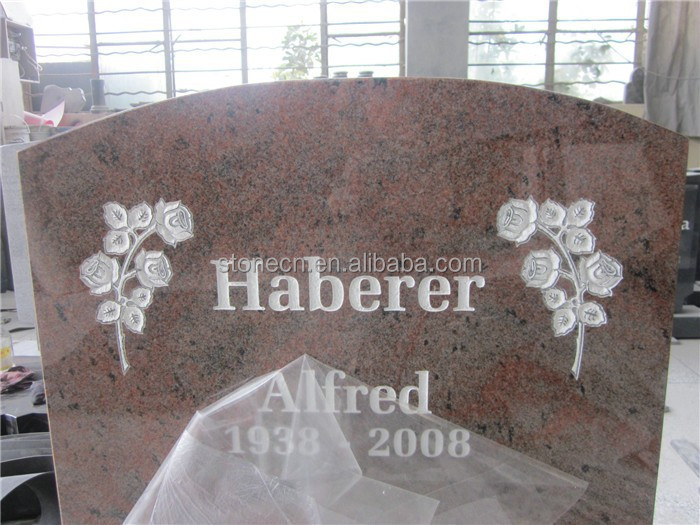 Red Granite Headstones : Multicolour red granite headstone with roses carving buy