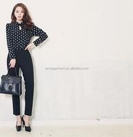 new design pats 2015 summer autumn long shirts trousers for women guangzhou garment factory cheap price wholesale