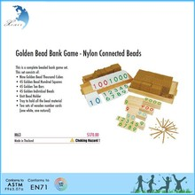 school kids learning Mathematics wooden toy educational montessori toys Golden Bead Bank Game - Nylon Connected Beads