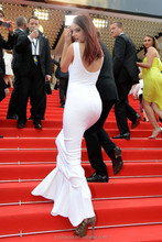 Real Pictures Sexy White Party Gown Backless Gorgeous Celebrity Dresses 2015