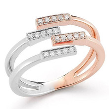 Fashion full finger ring double color plating gold ring copper jewelry