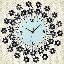 2014 special design glass printed metal wall clock