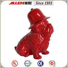 30.5 cm sitting red ceramic pug dog statue with hat for home decoration