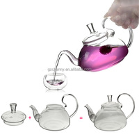 Heat resistant with high handle glass teapot 600ml