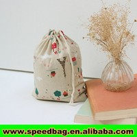 Jute Christmas gift bag with tree printing drawstring bag jute pouch