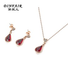 New products 2015 necklace and earrings imitation 18k gold plated jewelry set